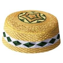 男性のアラブイスラム祈り帽子 Topi アフリカ Kippah ヘッドキャップイスラム教徒インドユダヤ人帽子黄色アッラー Musulman 新 Hombre キャップ Boina