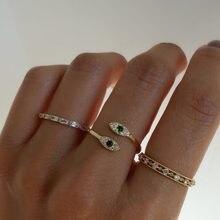 2021 nowe świetnie sprzedające się złoto kolor otwarty regulowany biały zielony cyrkon betonowa Tiny Evil pierścionek z oczkiem dziewczyny modna do owijania Dainty CZ biżuteria