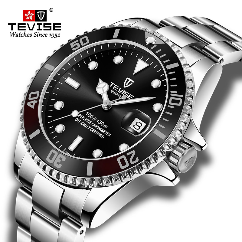 Hot Sell 2020New Tevise Quartz Men's Watch Automatic Date Fashion Luxury Sport Watches Stainless Steel Clock Relogio Masculino
