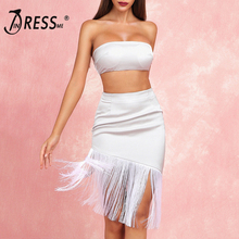 INDRESSME 2019 New Two-piece Set Fringe Bandeau Top With Bodycon Skirt Tassel Party Club Fashion