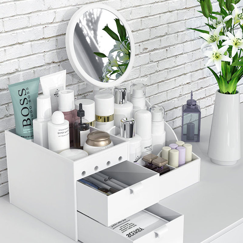 LED Mirror Makeup Organizer Bathroom Large Capacity Drawer ...