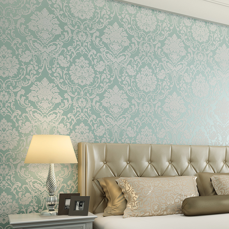Simple European Style Damascus Non-woven Wallpaper Bedroom Living Room Wallpaper 3D Wallpaper Relief Wallpaper