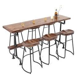 Высокий ножной стол, Скандинавское твердое дерево против стены, простой бар, сочетание стола и стула, семейный балкон, персонализированный ...