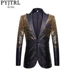 PYJTRL Mannen Mode Geleidelijke Verandering Goud Zwart Slim Fit Jasje Banket Nachtclub Zangers Blazer Bruiloft Bruidegom Smoking Jas