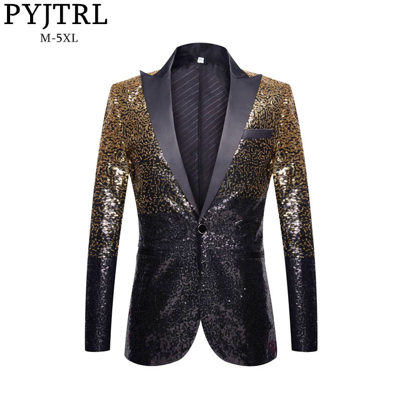 PYJTRL Men Fashion Gradual Change Gold Black Slim Fit Suit Jacket Banquet Nightclub Singers Blazer Wedding Groom Tuxedo Coat