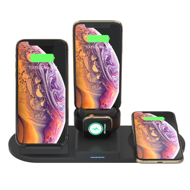 15W Qi Wireless Charger with Smart Thermostat Cup For iPhone 8 11 Wireless Charging Dock for Airpods Apple Watch 4 Charger Stand