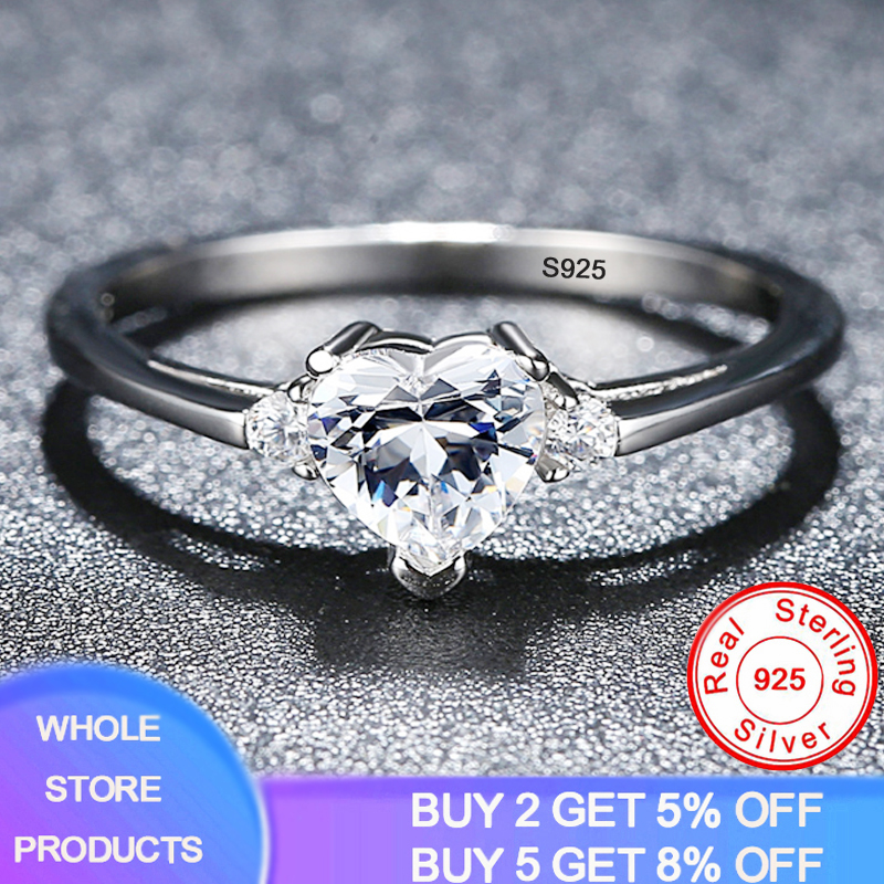 Gift Of Love Women Girl 100% Solid 925 Silver Heart Shape Cubic Zirconia Engagement Rings Rings Size 3 4 5 6 7 8 9 10 11 12 13
