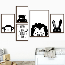 Cartoon Lion Rabbit Monkey Hippopotamus Nordic Posters And Prints Wall Art Canvas Painting Animal Pictures Kids Room Decor