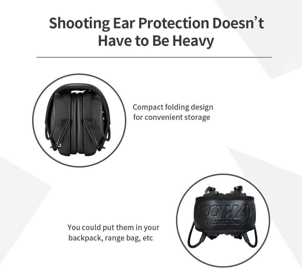 Электронные Наушники ZOHAN для съемки, защита ушей, усиление звука, защита от шума, профессиональный охотничий защитник для ушей, для спорта на открытом воздухе-3