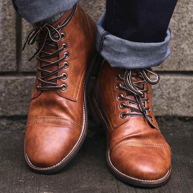 Femmes/hommes PU cuir à lacets Martin bottes dames bout rond vieux Vintage bottes Unsex décontracté bottines chaussures hommes femmes 2019 chaud