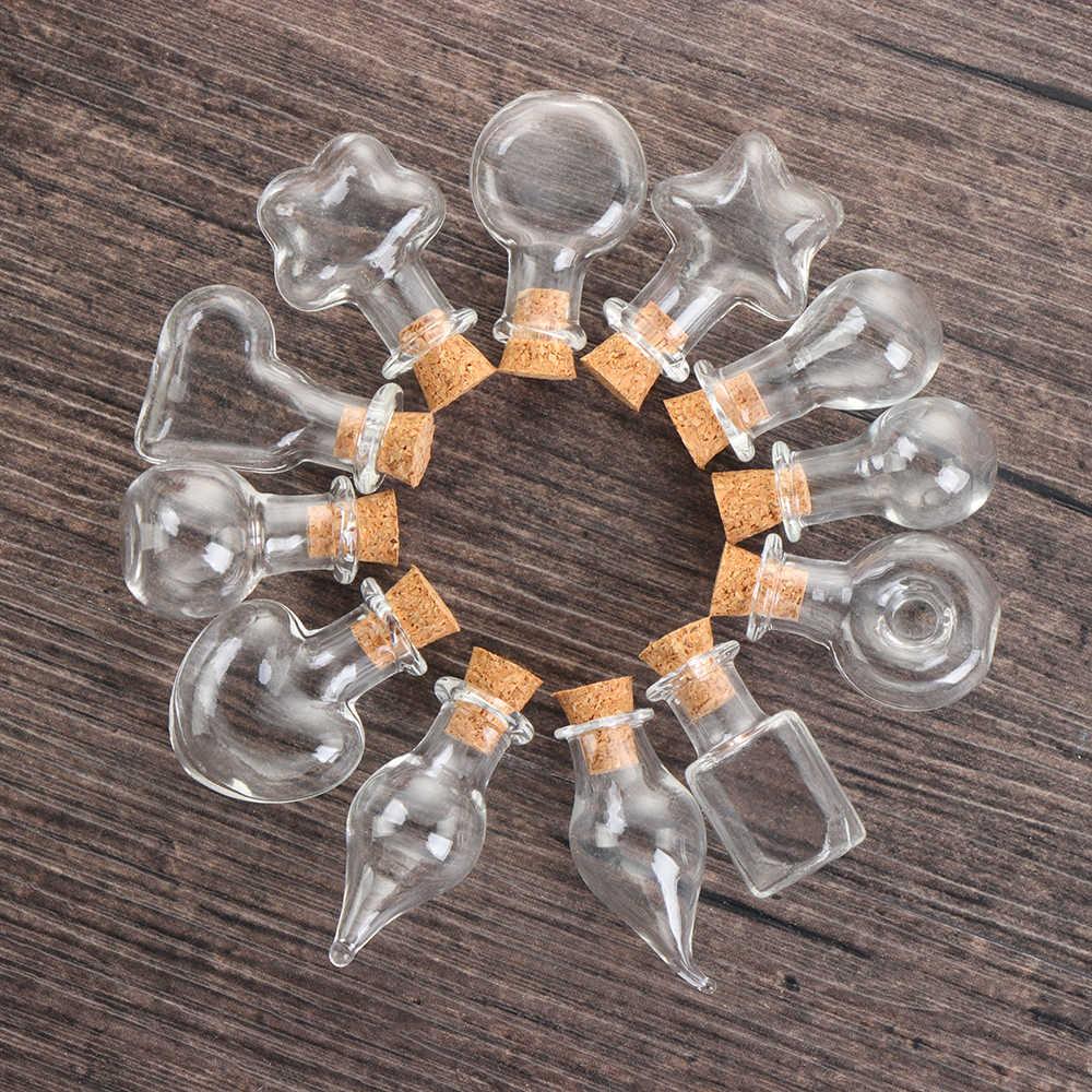 5 adet Mini isteyen şişe boş örnek kavanoz cam mantar şişeleri DIY takı kolye aksesuarları düğün malzemeleri ev dekorasyon