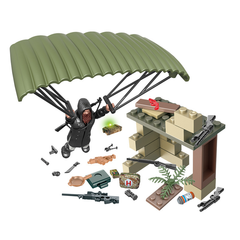 Assembly dolls decorate parts to eat chicken people's survival building blocks toy assembly scene toy set