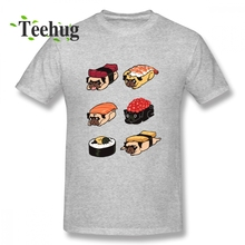 Unisex Sushi Pug Homme T Shirt For Boy Funny Custom Male 100% Cotton Tee