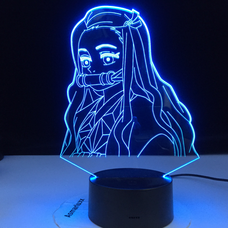Kimetsu No Yaiba Nezuko Kamado Figure Demon Slayer Gift Led Night Light For Bedroom Decor Nightlight Kids Child Table 3d Lamp