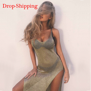 Fashion Mesh Cover Up Sarong Sexy Beach Dress Vestido Crochet Golden Swimsuit Swimwear Women Trend Pareo Bikini Sarong Cover-up(China)