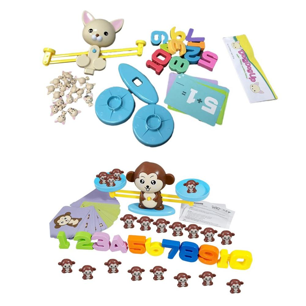 Monkey And Puppy Digital Balance Scale Toy Addition And Subtraction Arithmetic Desktop Game Puzzle EarlyLearn Enlightenment Toys