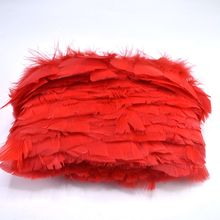 Wholesale Red Turkey Feathers Trimming Fringe for Sewing Clothing  6-8cm DIY Natural Craft Christmas Wedding Decoration