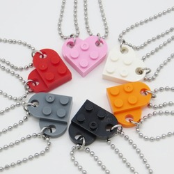 Building Brick Blocks Heart Necklace for Women Men Girlfriend Couple Valentine's Gifts Punk Friendship Beads Necklace