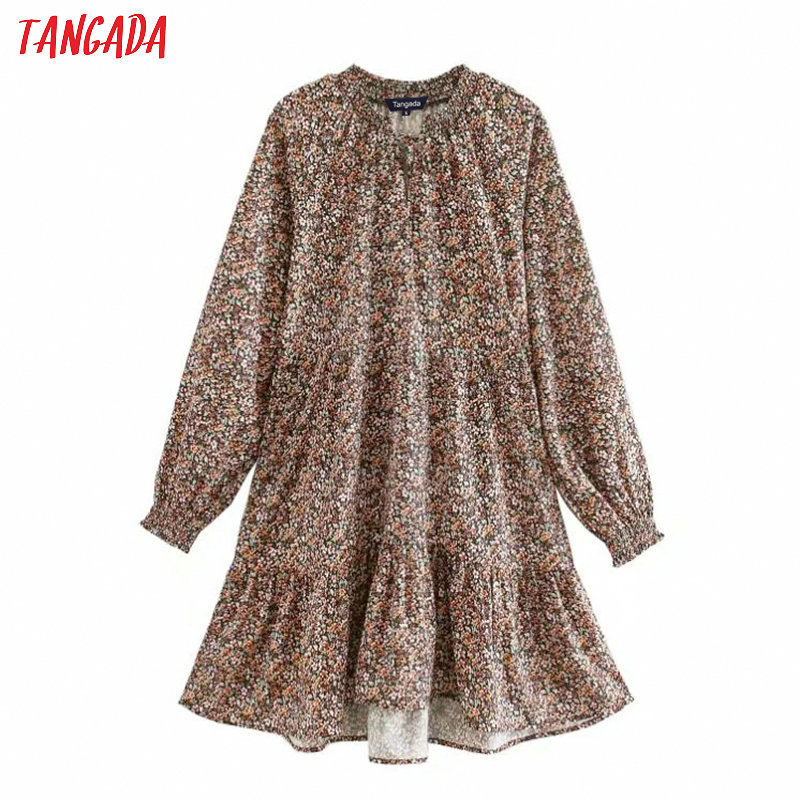 Tangada Women Chic Floral Print Dress French Style Long Sleeve Female Casual Wear Stylish Chic Pleated Dresses Vestidos XN428