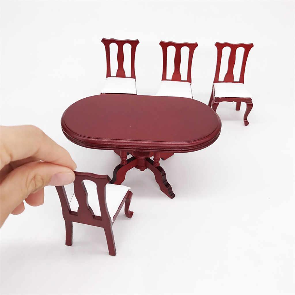 ילדים צעצועי 1:12 בית בובות מיניאטורות עץ אדום שולחן אוכל 4 כיסאות מטבח ריהוט סט אביזרי בובות ריהוט צעצוע