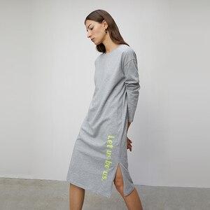 Image 3 - Toyouth 2020 ربيع فساتين قطنية المرأة كل مباراة رسالة ملابس منقوشة بكم طويل فستان سبليت هملين الصلبة الإناث