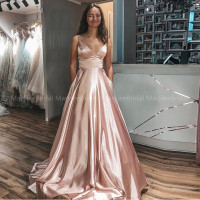 Sexy V neck Spaghetti Straps Long Evening Dresses Rose Gold Prom Gown Stretch Satin vestido de noite Evening Party Dresses