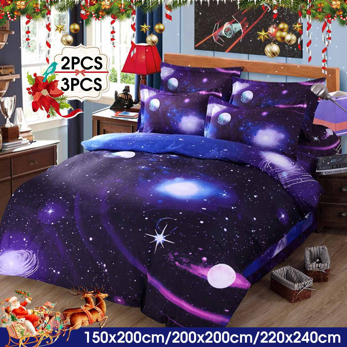 2/3 Pcs 3D Star Bedding Cover Set Polyester Twin/Queens Bedding Sets Universe Outer Space Themed Bed Linen Winter Home Textile