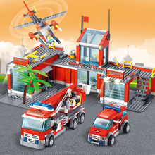 774Pcs Building Blocks Fire Station Model  Building Blocks Sets City Bricks Block ABS Plastic Educational Toys For Children building blocks city police station swat model fire fighting friends fingure bricks educational toys for children