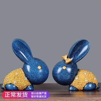 A pair of Big European Style Lovers Rabbit Resin Creative Valentine Gift Wedding Decor Home Decoration