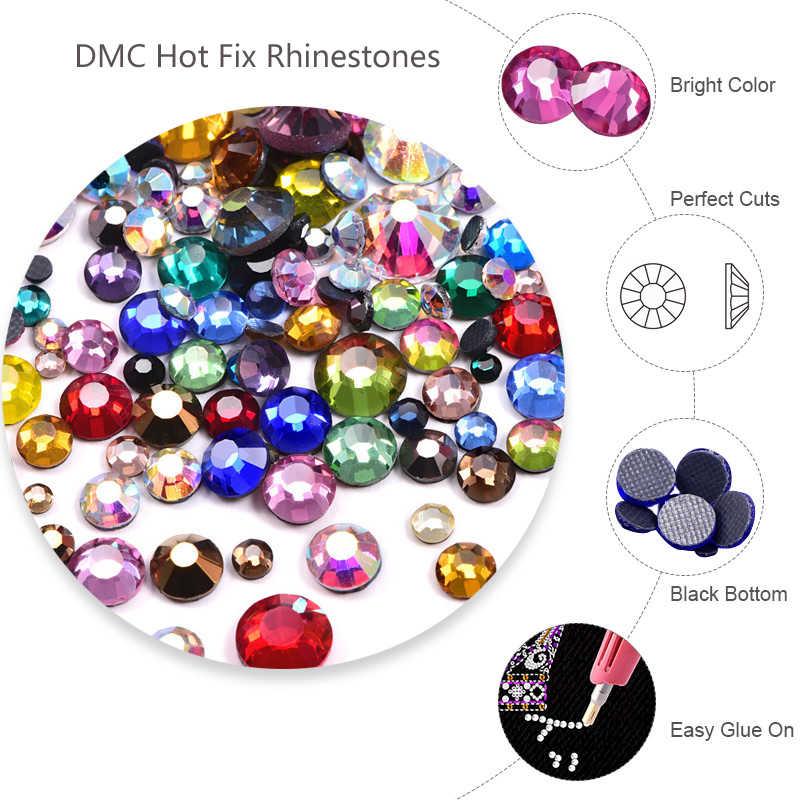 36 لون البوب بالجملة التعبئة الكبيرة DMC الإصلاح العاجل أحجار الراين الزجاج المسطحة الإصلاح الساخن لاصقة حجر الرّاين الحراريّة لفستان الزفاف Y2748