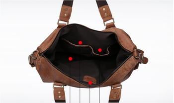 Oil Wax Genuine Leather Travel Bag Men High Capacity Fashion Duffle Bag England Style Shoulder Crossbody Unisex Viaje DF112