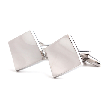 NEW ARRIVAL Elegant Men Cufflinks Glossy Simple Contorted Square Tile Pattern Screwy Geometry Cuff Button Cuff-link image