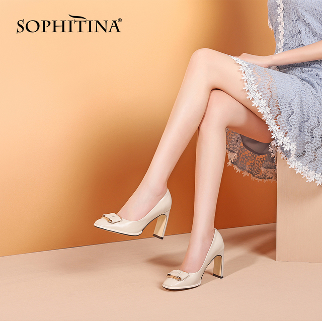 SOPHITINA Fashion Metal Decoration Pumps High Quality Genuine Leather New Shallow Shoes Elegant Handmade Women s