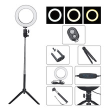 Fotografie Dimbare LED Selfie Ring Licht Video Live 3500-5500k Photo Studio Lamp Met Telefoon Houder USB Plug statief Vullen lichten(China)