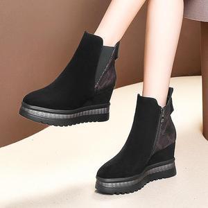 Image 4 - ALLBITEFO wiggen hak echt leer hoge hakken enkellaars voor vrouwen gemengde kleuren vrouwen laarzen winter sneeuw laarzen maat: 34 42