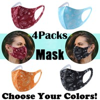 4pcs Adult Unisex Mouth Mask Cycling Breathable Printed Washable Reusable Protective Face Mask Windproof Anti-ultraviolet Masks