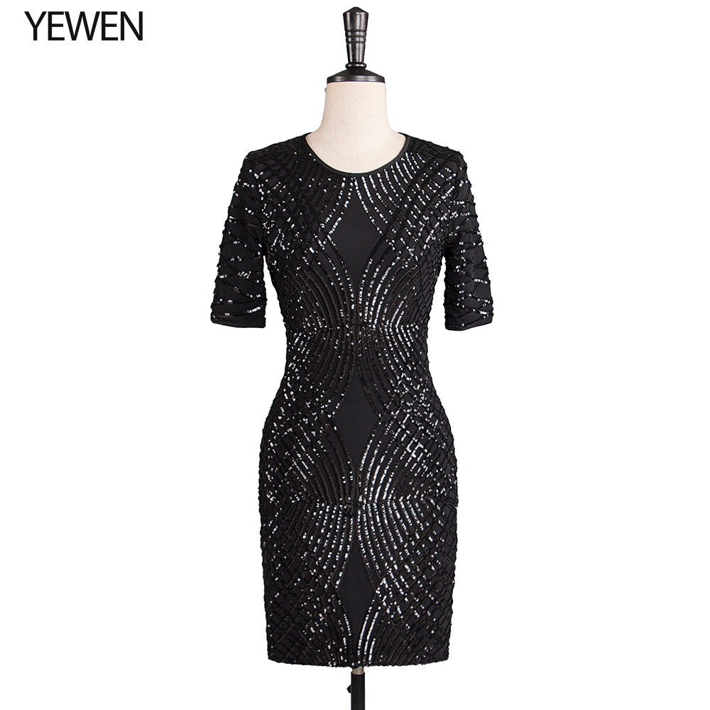 O-Neck black formal dress 2019 evening party gown bridal dress short sleeves Coctail dresses knee length YeWen