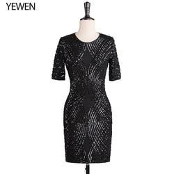 Oansatz schwarz formale kleid 2019 abend party kleid braut kleid kurzen ärmeln Coctail kleider knie länge YeWen
