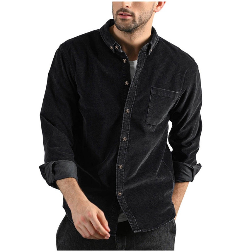 KLV Shirts Fashion Men Autumn And Winter Casual Solid Corduroy Pocket Long Sleeves Shirt Top Blouse Comfortable Warm Shirt