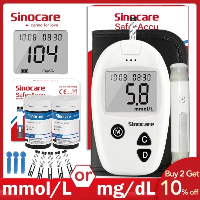 Sinocare Safe-Accu Blood Glucose Meter Glucometer Kit Diabetes Tester 50/100 Test Strips Lancets Medical Blood Sugar Meter
