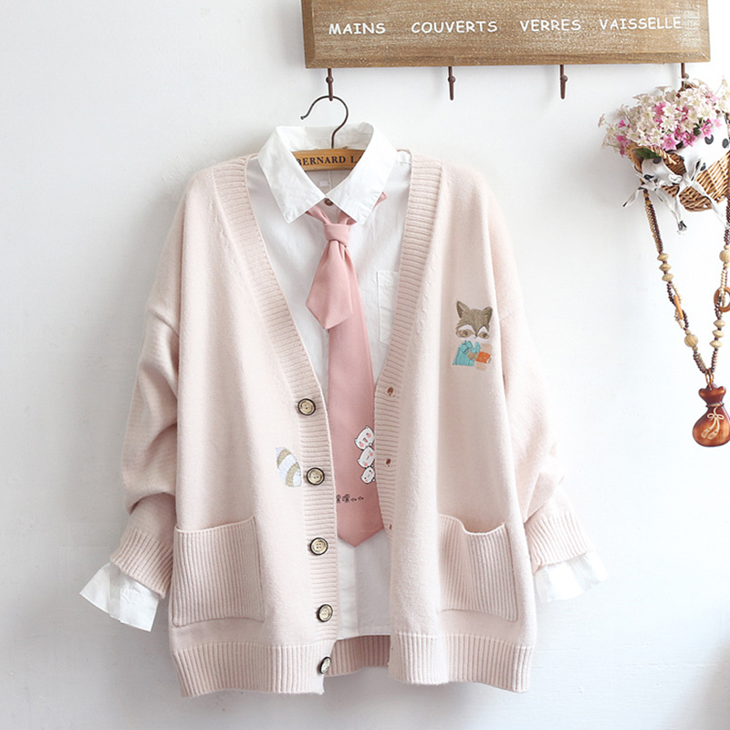 Japanese-style Sweet Hipster Cute GIRL'S Heart Pocket Fox Embroidered Knitted Cardigan Online Celebrity Soft Girl Coat Autumn