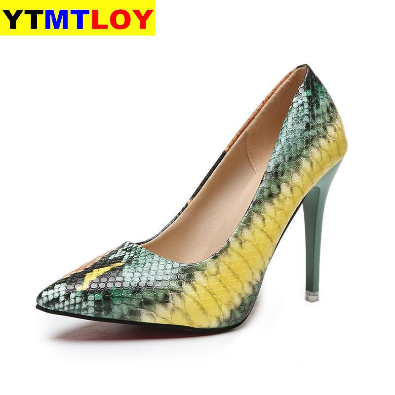 Women PU Leather Pointed Toe Pumps Snake Printing Female Shoes Fashion 2020 Slip On High Heel Pumps Plus Size Ladies Footwear