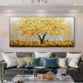 Большая картина ручной работы с изображением золота, денег, дерева, современный пейзаж, картина маслом на холсте, Настенная картина для укра...