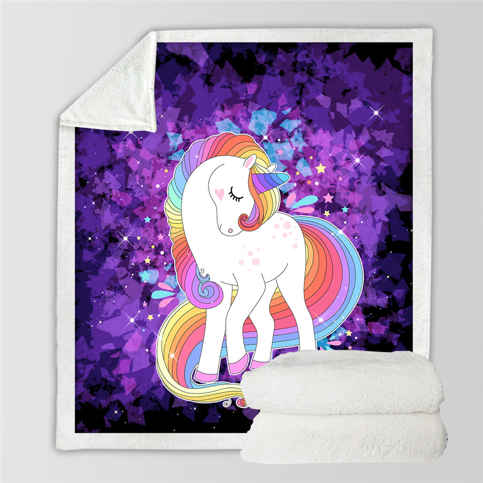 BeddingOutlet Unicorn Throw Blanket Floral Cartoon Sherpa Blanket for Kids Girl Couch Soft Plush Bedspreads Thin Quilt Drop Ship