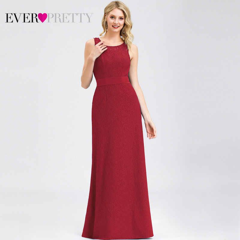 אלגנטי תחרה ערב שמלות ארוך פעם די EP08938 אונליין O-צוואר Bow Sashes פורמליות ערב שמלות Vestido לונגו Festa 2019
