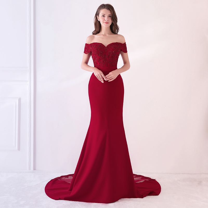 New Mermaid Evening Dress Off The Shoulder Long Sexy Lace Applique Hand Beaded Fashion Prom Party Dress Elegant Temperament WAYJ