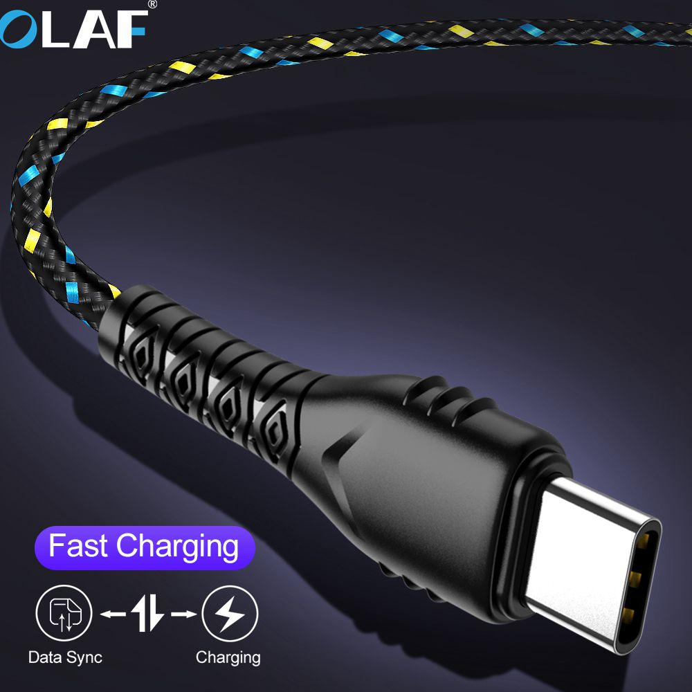 OLAF USB Type C Cable 1M/2M/3M Data Sync Fast Charging USB C Cable For Samsung A50 A30 USB Type-C Wire For Huawei P30 P20 Lite