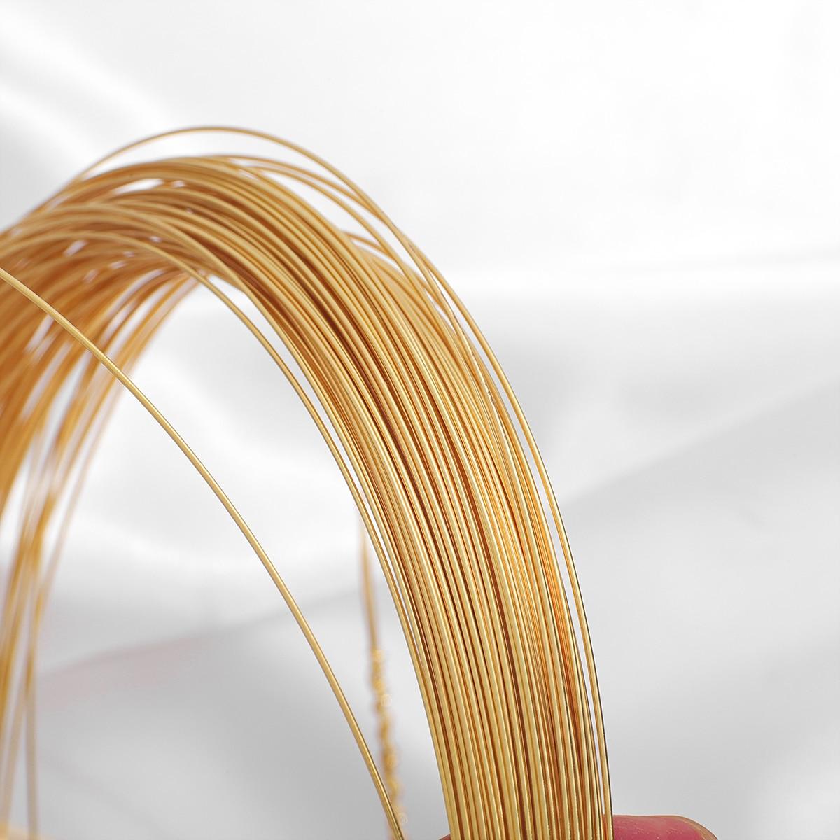 Медная проволока с позолотой 18 К для браслетов и ожерелий, 0,4-1 мм, цветная проволока для самостоятельного изготовления бижутерии, шнур для р...