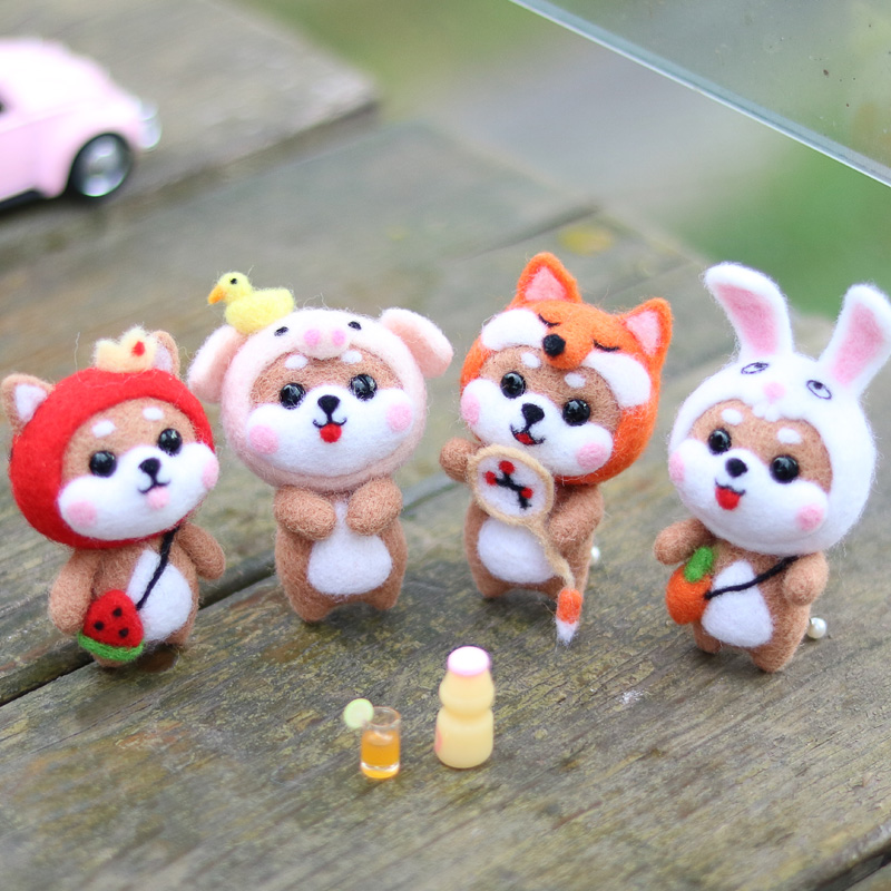 Watermelon Fox Head Rabbit Cute Animal Wool Needle Felting Fashion Hot Handmade DIY Doll Toy Material Package Unfinish
