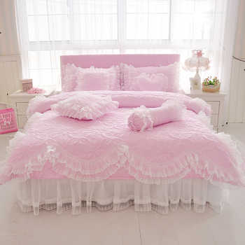 100%Cotton Thick Quilted lace Bedding set King queen Twin size Bed set Princess Korean Girls White Pink Bed skirt set Pillowcase - DISCOUNT ITEM  31% OFF All Category